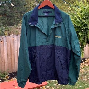 Nautica pullover jacket green and blue men size L